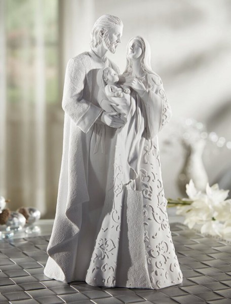 Contemporary Holy Family 10 Inch High Statue - White