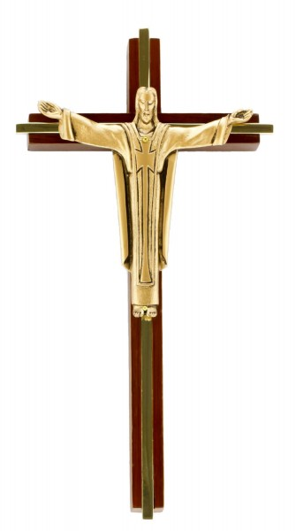 "Contemporary Risen Christ Wall Crucifix in Walnut with Gold Tone Inlay and Antique Gold Finish Corpus 10"" - Brown"