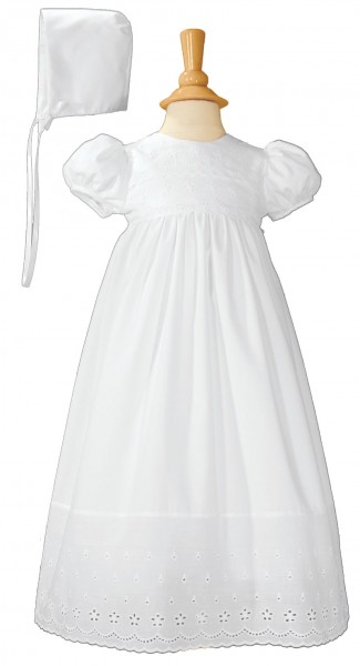 Cotton Baptism Gown with Lace Border - White