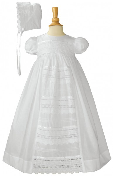 Cotton Baptism Gown with Pin Tucking & Lace Panel - White