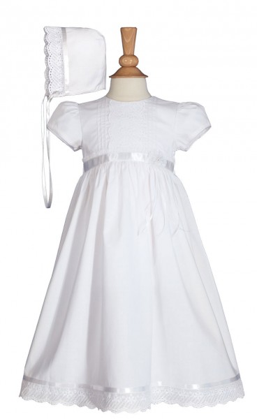 Cotton Baptism Gown with Satin and Lace Trim - White