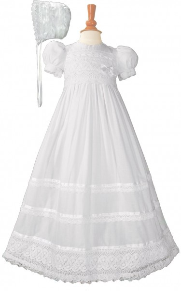 Cotton Batiste Baptism Gown with Cluny Trim - White