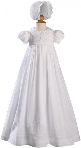 Long Beaded Cotton Heirloom Christening Gown - White