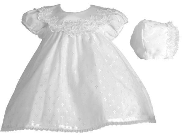 Christening Dress with Dobby Cross Design - White