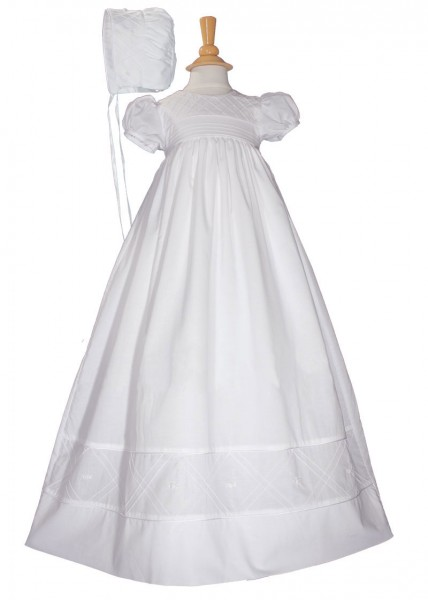 Cotton Christening Gown with Diamond Stitch - White