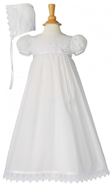 Cotton Christening Gown with Italian Lace - White