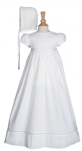 Cotton Christening Gown with Lace Accents - White
