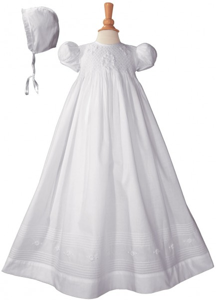 Cotton Embroidered Short Sleeve Long Christening Gown - White