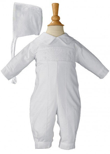 Cotton Hand Smocked Pin Tucked Coverall - White