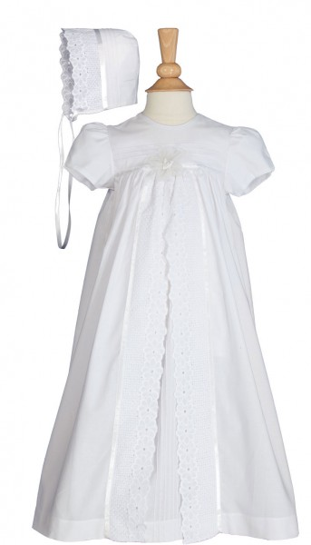 Cotton Split Panel Vintage Christening Gown - White