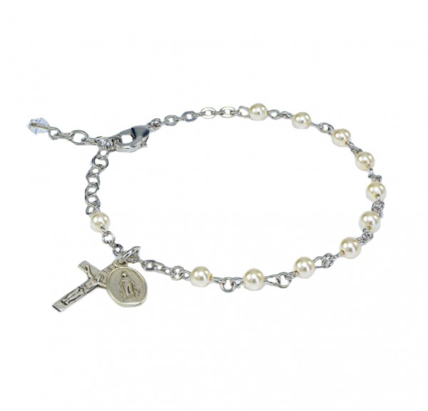 Cream Pearl 4mm First Communion Rosary Bracelet - Cream