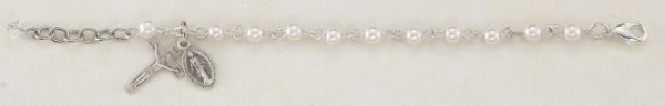 Cream Pearl & Sterling Silver Communion Rosary Bracelet - Cream