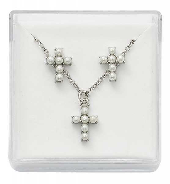 Cross Imitation Pearl Earring and Necklace Set - Pearl White