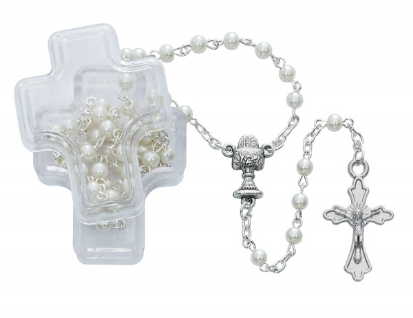 Cross Keepsake Rosary Box and White First Communion Rosary - White