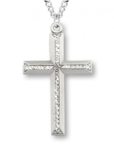 Cross Necklace in Pewter with Bright Cut Accents - Pewter