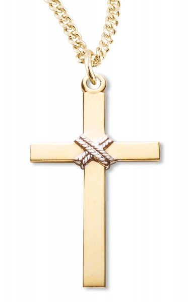 Cross Pendant 14kt Gold Plated Sterling Silver Two Tone - Two-Tone
