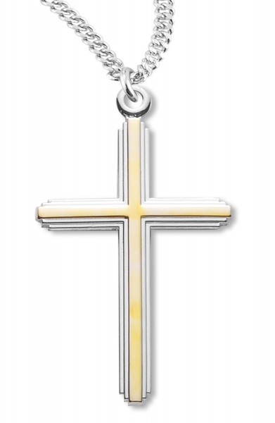 Cross Pendant Gold Plated Sterling Silver Two Tone - Two-Tone