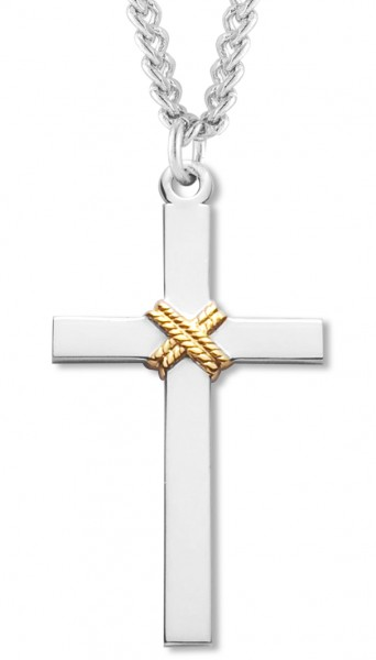 Cross Pendant Sterling Silver Two Tone - Two-Tone Silver