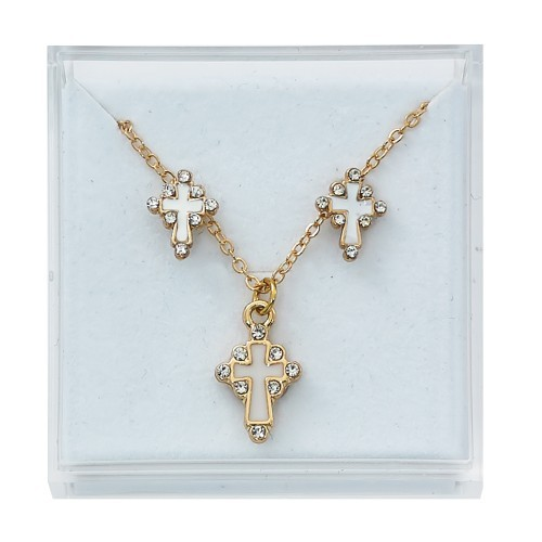 Cross Pendant and Earring Jewelry Set - Gold Tone