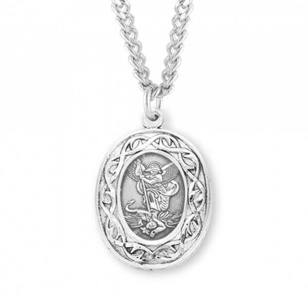 Crown of Thorns Saint Michael Medal - Sterling Silver