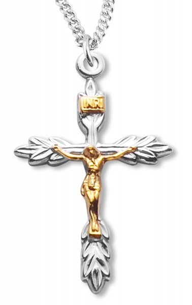 Two Tone Laurel Leaf Style Crucifix Medal - Two-Tone