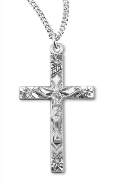 Women's Flower Tip Crucifix Necklace - Silver