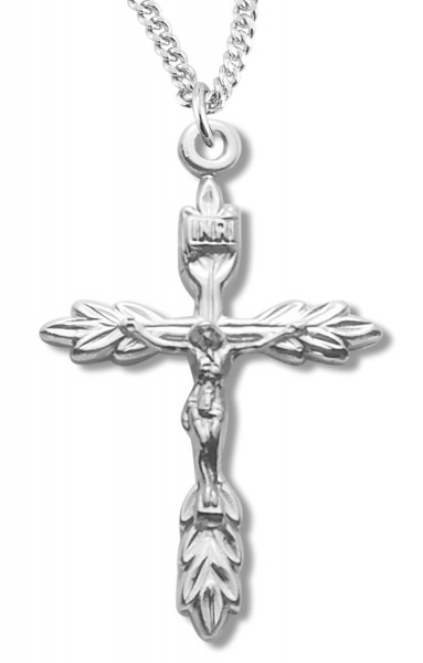 Laurel Leaf Crucifix Medal Sterling Silver - Silver