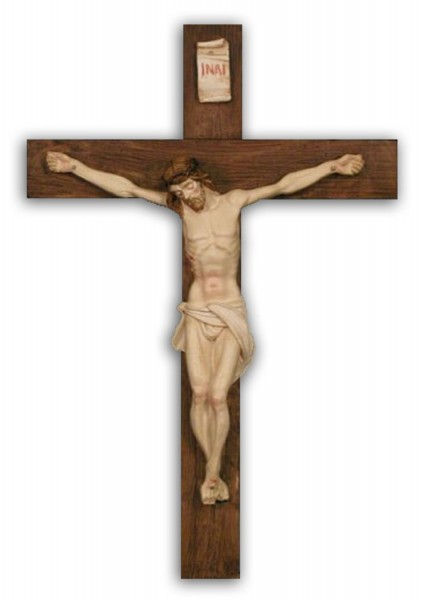 Crucifix in Hand Painted Alabaster - 15 inches - Multi-Color