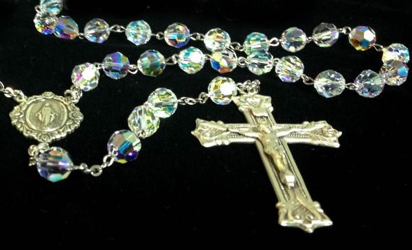 Crystal Aurora Borealis Swarovski Rosary 8mm Miraculous