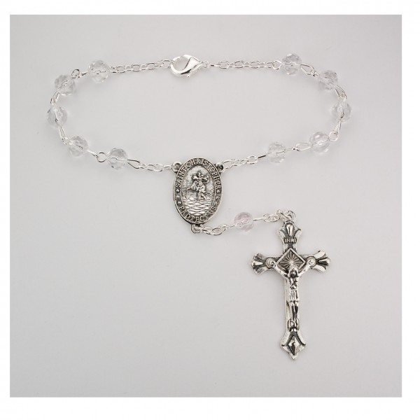 Crystal Auto Rosary - April Birthstone - Crystal