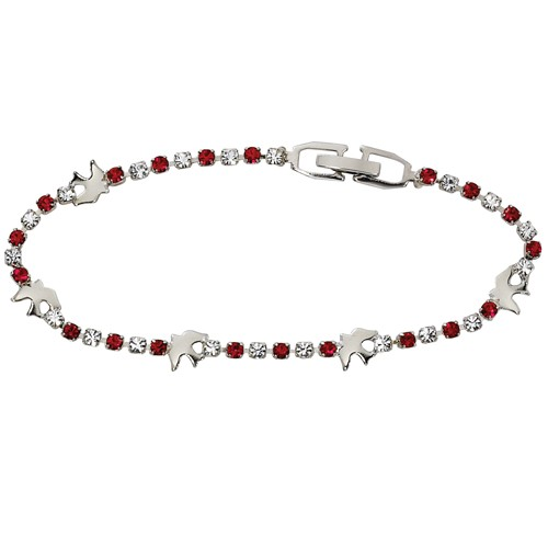 Crystal Confirmation Bracelet with Silver Doves - Silver | Red