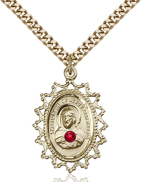 Cut-Out Scapular Pendant with Birthstone Options - 14KT Gold Filled