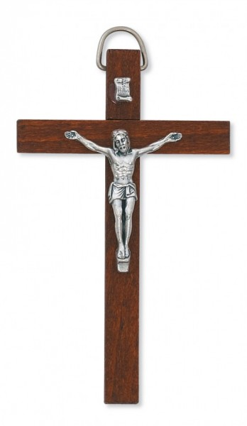 "Dark Brown Wood Crucifix with Metal Corpus - 4""H - Brown"