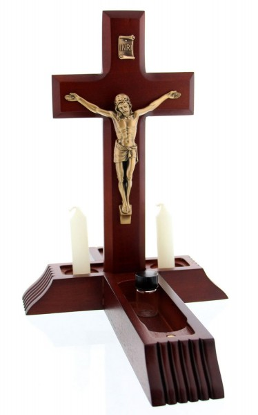 Dark Cherry Sick Call Crucifix Set - 10 inch - Cherry Wood