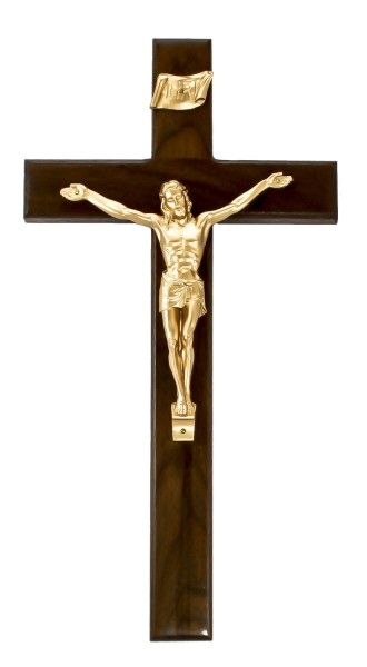 "Dark Walnut Wall Crucifix with Bright Gold Finish Corpus 15"" - Brown"