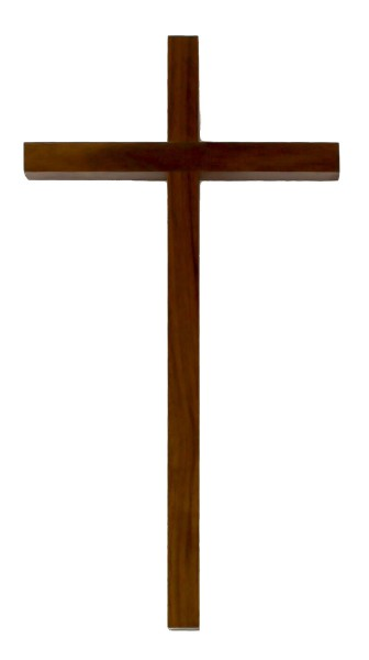 "Dark Walnut Wood Wall Cross with Narrow Cross Bars 12"" - Brown"