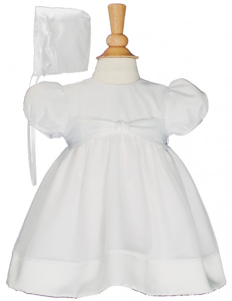Day Length Organza Baptism Gown - White