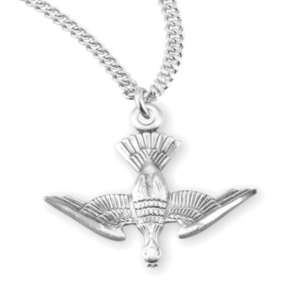 Detailed Descending Dove Necklace - Sterling Silver