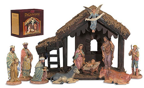 "DiGiovanni Nativity Set with Wood Stable - 6""H Figures - Multi-Color"