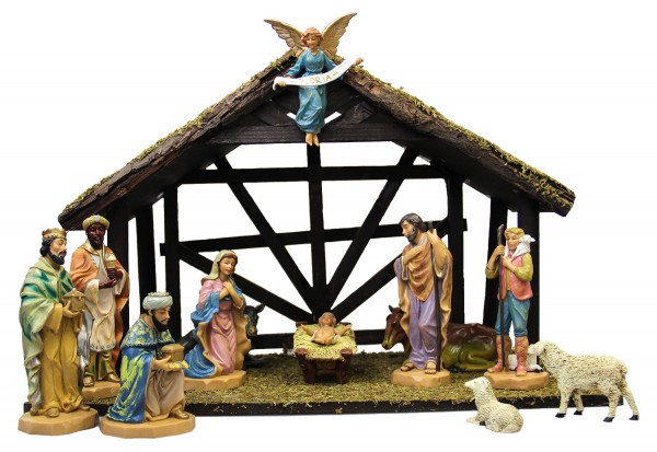 DiGiovanni Nativity Set with Wood Stable - 6 - Multi-Color