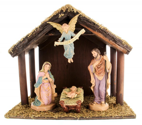 DiGiovanni Nativity Set with Wood Stable - 6 inch figures - Multi-Color