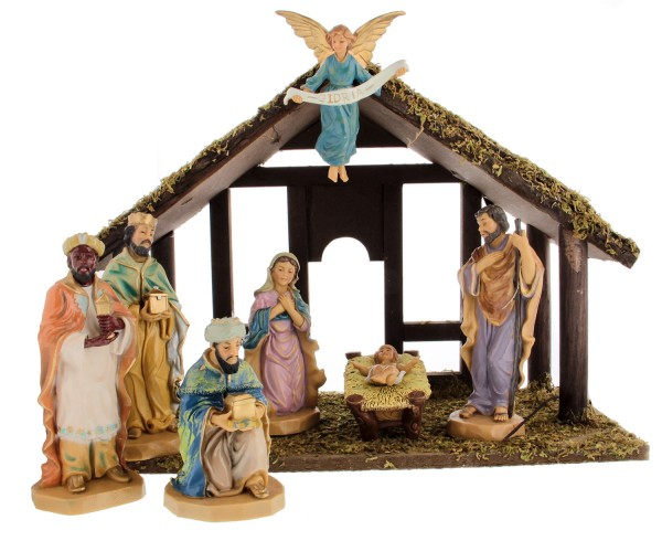 "DiGiovanni Nativity Set with Wood Stable - 7 Piece 6"" Tall - Multi-Color"