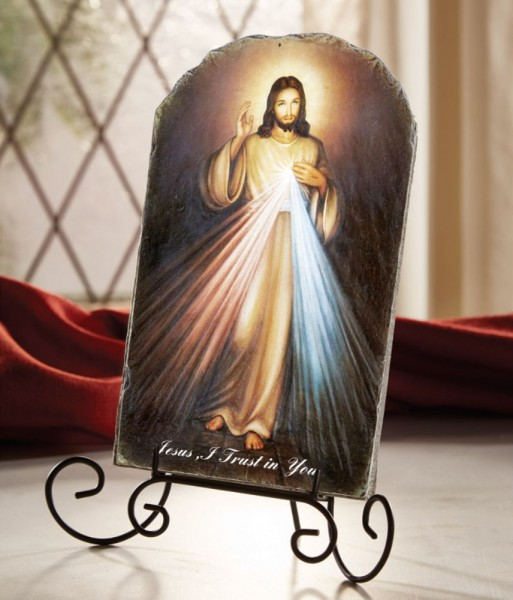 "Divine Mercy of Jesus Tile Plaque 8.5"" High - Full Color"