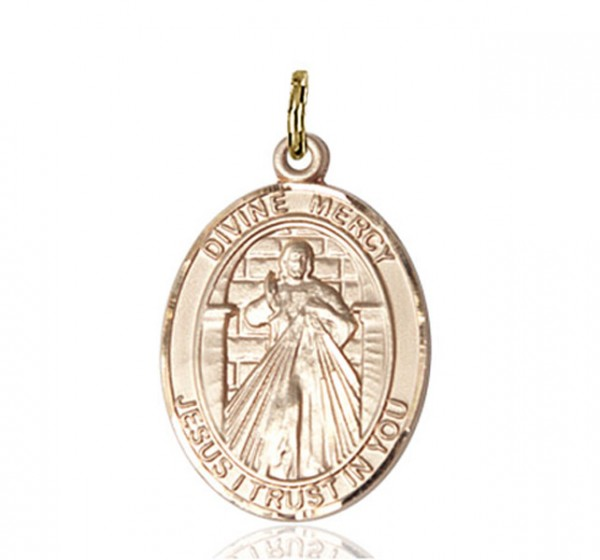 Oval Divine Mercy Medal - 14K Solid Gold