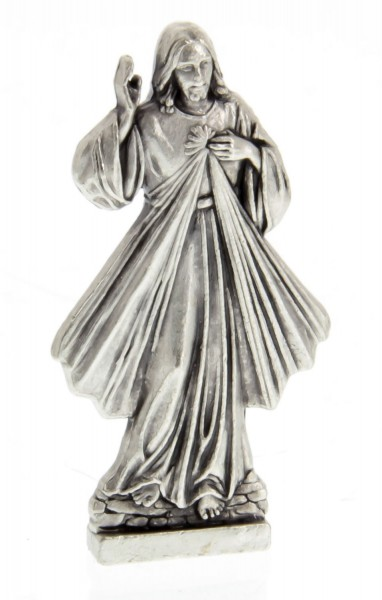 Divine Mercy Pocket Statue with Holy Card - Multi-Color