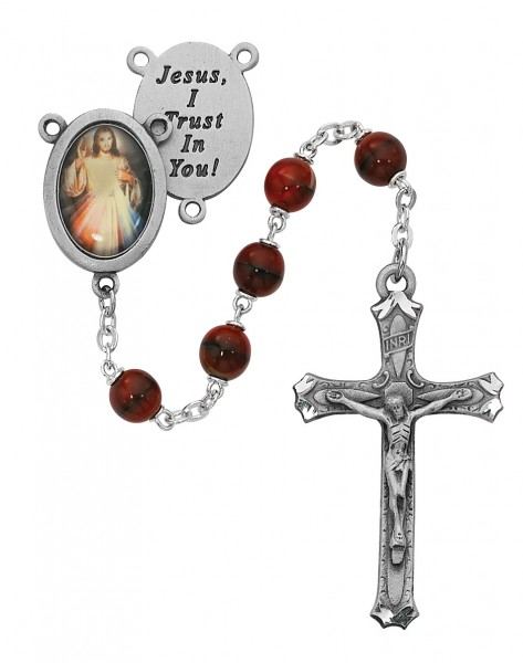 Divine Mercy Red Marble Glass Rosary - Red