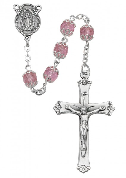 Double Capped Pink Glass Rosary - Rose