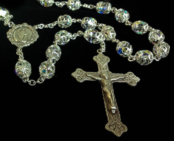 Double Capped Swarovski Crystal Rosary In Sterling Silver