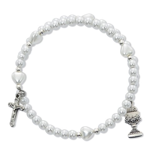 Double Wrap Faux Pearl Bracelet with Chalice and Crucifix Charm - White | Silver