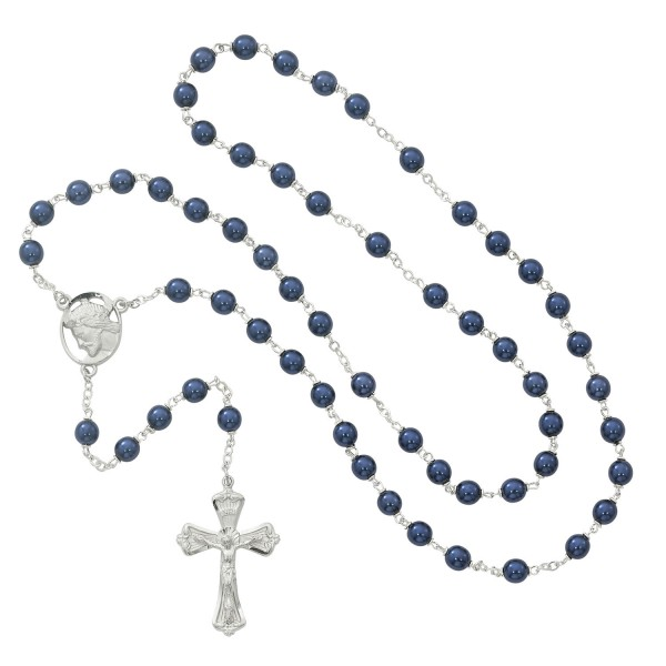 Ecce Homo Blue Metallic Rosary - Blue